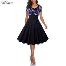 MISSJOY 2019 Women Vintage High waist summer Pin up Slash Neck Button Short Sleeve Rockabilly Skater Swing party 50s retro Dress