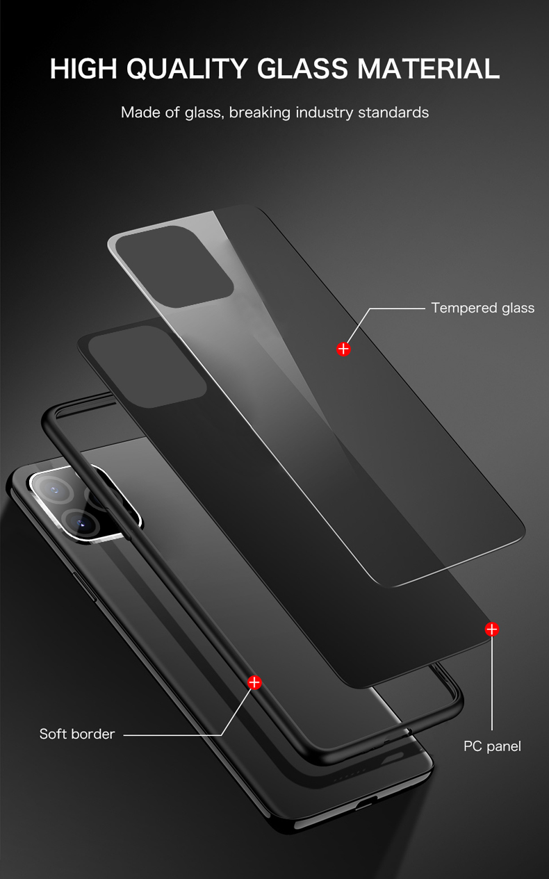 Luxury Plain Mirror Tempered Glass Phone Case For iPhone 12 Pro