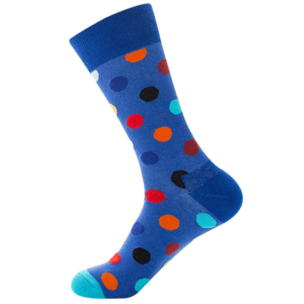 1 คู่ถุงเท้าผู้ชายผ้าฝ้ายลาย Dot จุดสีสันเรขาคณิต Novelty ตลกถุงเท้า