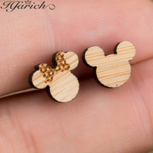 Hfarich Charming Gold Cute Exquisite Mickey And Minnie Wood Earrings Colorful New Fashion Sweet Ear For Women Girls Party Gifts