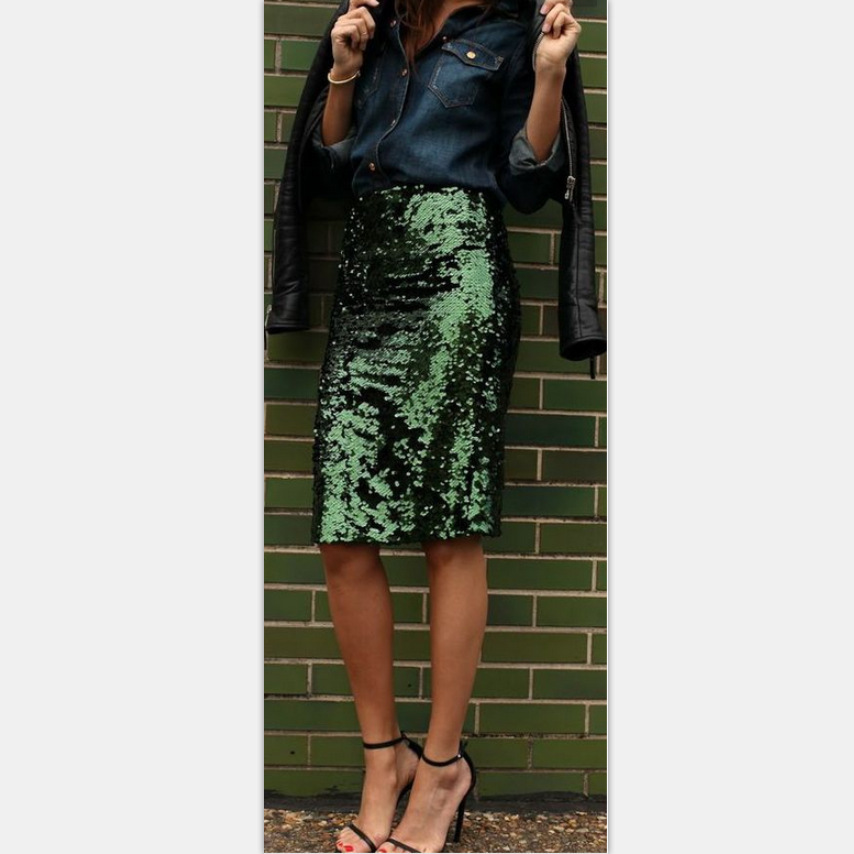 2019 Trend Hot Selling Europe And America Spring And Summer WOMEN'S Dress Symphony Green-Sequin Sheath Skirt