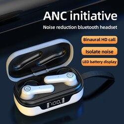 HBQ ANC Pro Bluetooth V5.1 гарнитура с активным шумоподавлением, светодиодный дисплей, портативные беспроводные наушники с сенсорным управлением, TWS н...