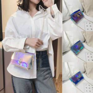 Women Handbags Clear Chain-Bag Purse-Flap Messenger-Bags Holographic Transparent Laser