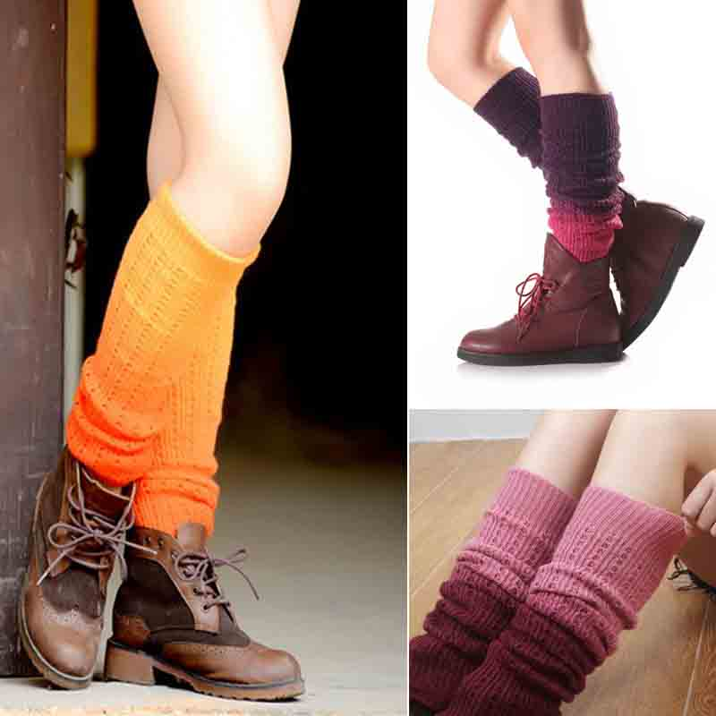 Womens Girls Winter Gradient Color Cable Knitted Long Leg Warmers Footless Socks Outdoor Snow Ski Knee High Crochet Boot Cuffs