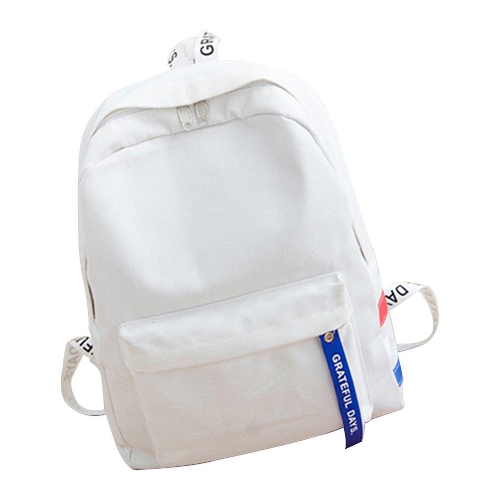Korean Version Wash Canvas Shoulder Bag Men Women Simple Casual Backpack Student Backpack