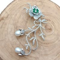 White Pearl Cubic Zirconia micro pave pin jewelry Brooch