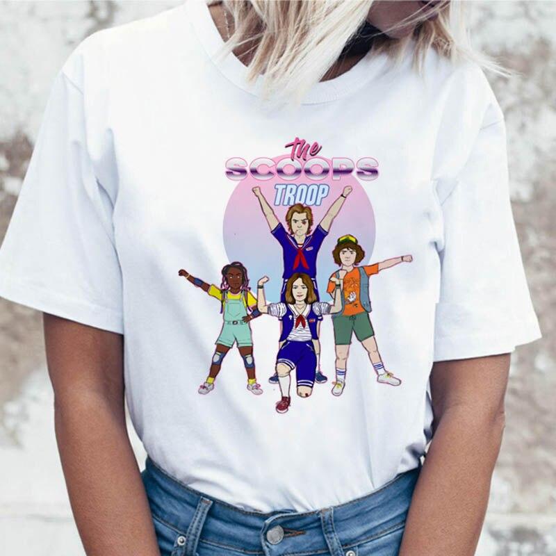 2019 странные вещи Женская забавная футболка ТВ 11 Дастин футболки майка футболка 80s Графический Женский Ulzzang футболка StrangerThings