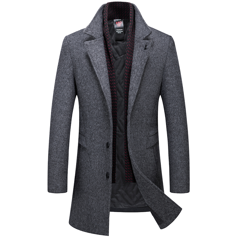 Men's Coat Solid Wool Trench Coat Casual Men's Winter Coat Long Jacket Men Gray Navy Blue Men's Jacket High Qulity Overcoat