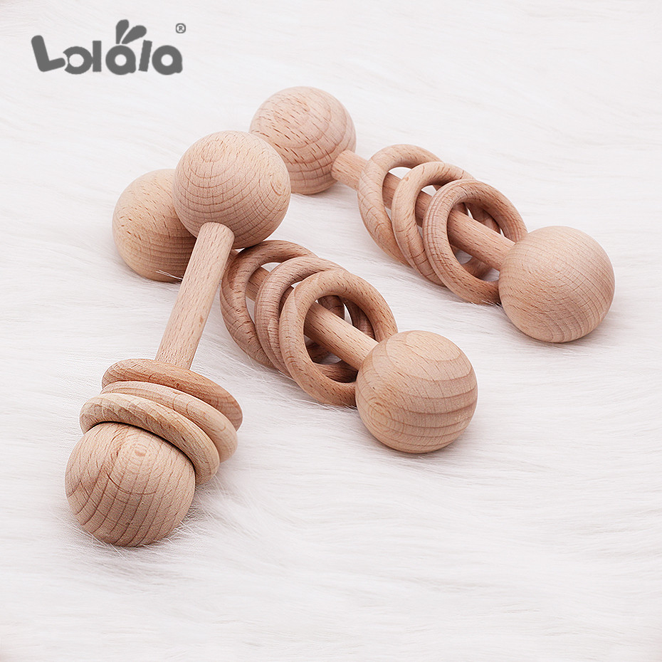 1pc Baby Beech Wood Teething Wooden Ring Beads Play Gym Baby Teether Chew Montessori Stroller Toy Pram Shower Gifts Baby Rattles