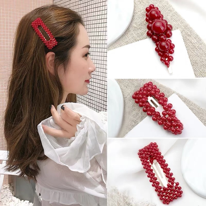 1pc Classic Red Pearl Hair Clip for Women Elegant Korean Design Snap Barrette Stick Bride Hairpin Hair Styling Accessories