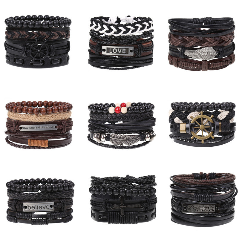 4Pcs/ Set Braided Leather Men Women Bracelets Vintage Wooden Beads Rudder Cross Ethnic Wristbands Hope Believe Bracelet