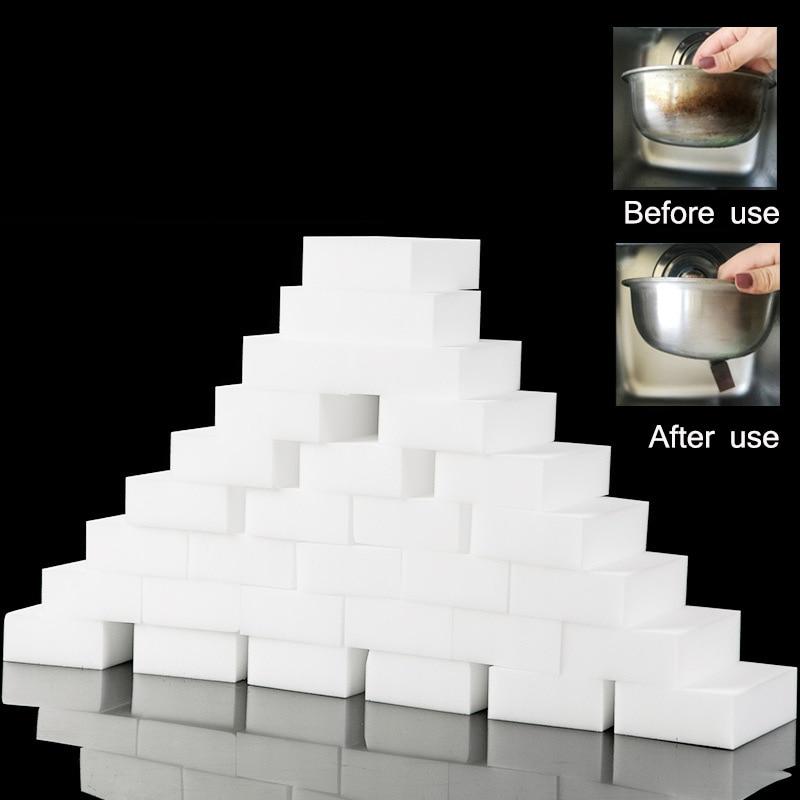 100 шт./лот меламиновая губка, волшебная губка, ластик, меламиновые губки, очищающая губка, аксессуары для ванной и кухни