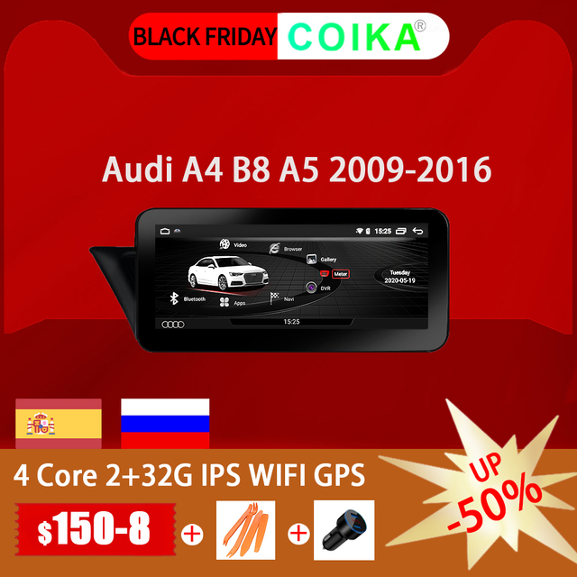 COIKA Unidad principal de coche, accesorio con Android 10, para Audi A4 A5 2009 2016, GPS NAVI Carplay, wifi, Google BT AUX, pantalla táctil IPS 2 + 32G de RAM