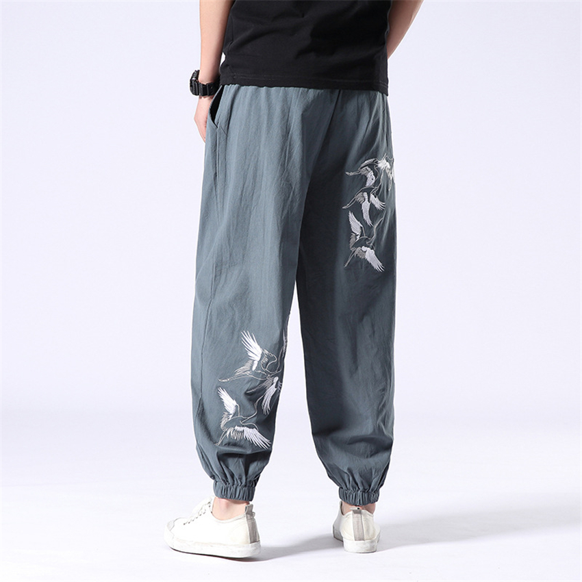 High Quality Man Japanese Style Pants Linen Cotton Embroidery Plus Size Wide Leg Trousers Summer Breathable Beach Wear