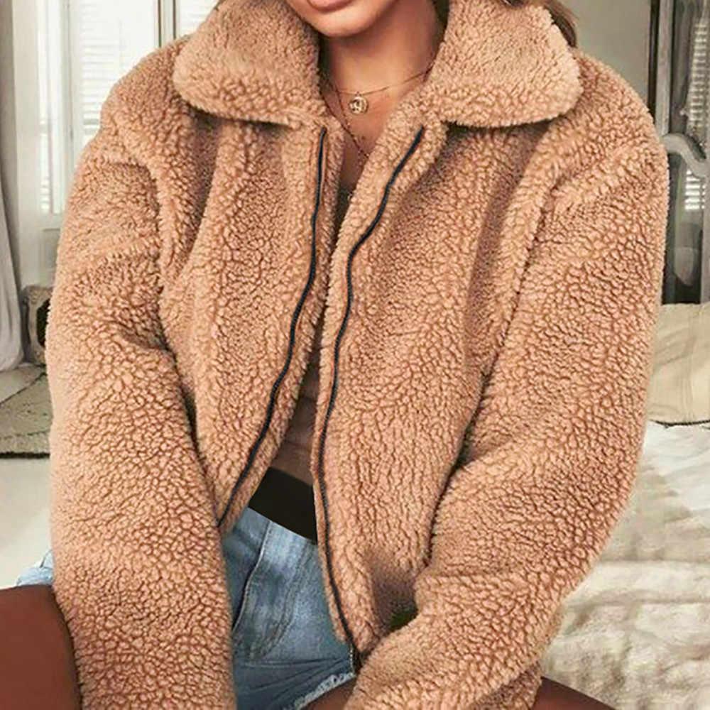 冬人工ウールコートレディース固体ターンダウン襟ジッパーフリースジャケット女性の冬パーカー上着コート Casaco