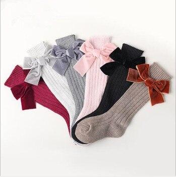 Winter new children's socks thick line knitting in tube socks female baby warm cotton socks fashion velvet bow piled socks 1