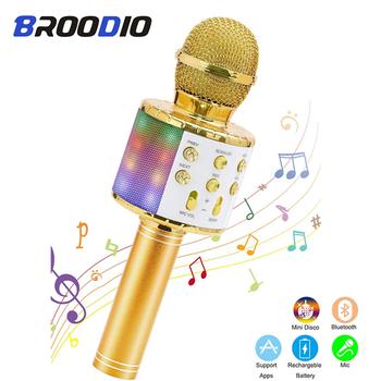 Mikrofon do Karaoke bezprzewodowy mikrofon Bluetooth profesjonalny głośnik ręczny mikrofon odtwarzacz śpiewający mikrofon mikrofon tanie i dobre opinie Broodio Wiszące Mikrofony Mikrofon pojemnościowy Karaoke mikrofon Wielu Mikrofon Zestawy CN (pochodzenie) Dwukierunkowy Rysunek-8