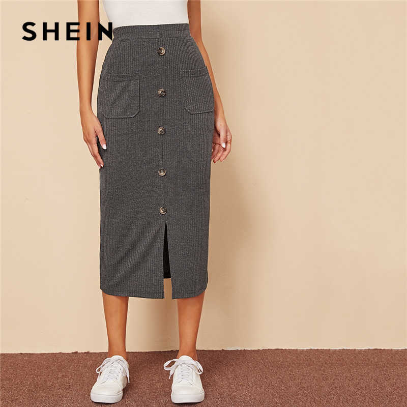 SHEIN Grey Single Breasted Split Hem Pocket Patched Rib-knit Skirts Womens Autumn High Waist Ladies Casual Straight Long Skirt