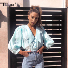 Bclout Streetwear V Neck Women Tops 2020 Summer Long Sleeve Thin Casual Ladies