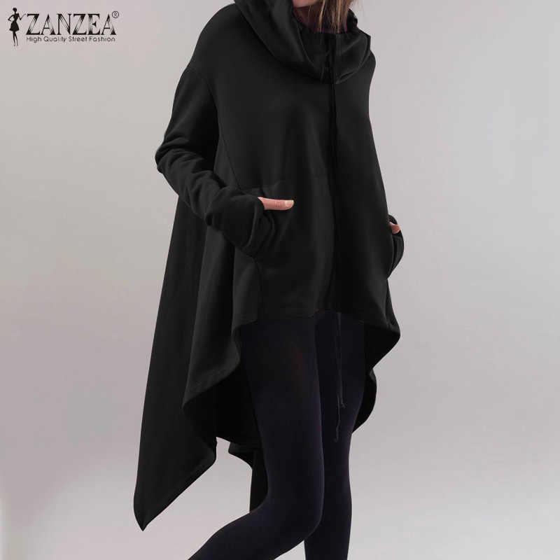 ZANZEA Fashion Hooded Full Sleeve Sweatshirt Women Zip Irregular Hem Loose Casual Hoodies Pullover Outwear Plus Size Sweatshirts