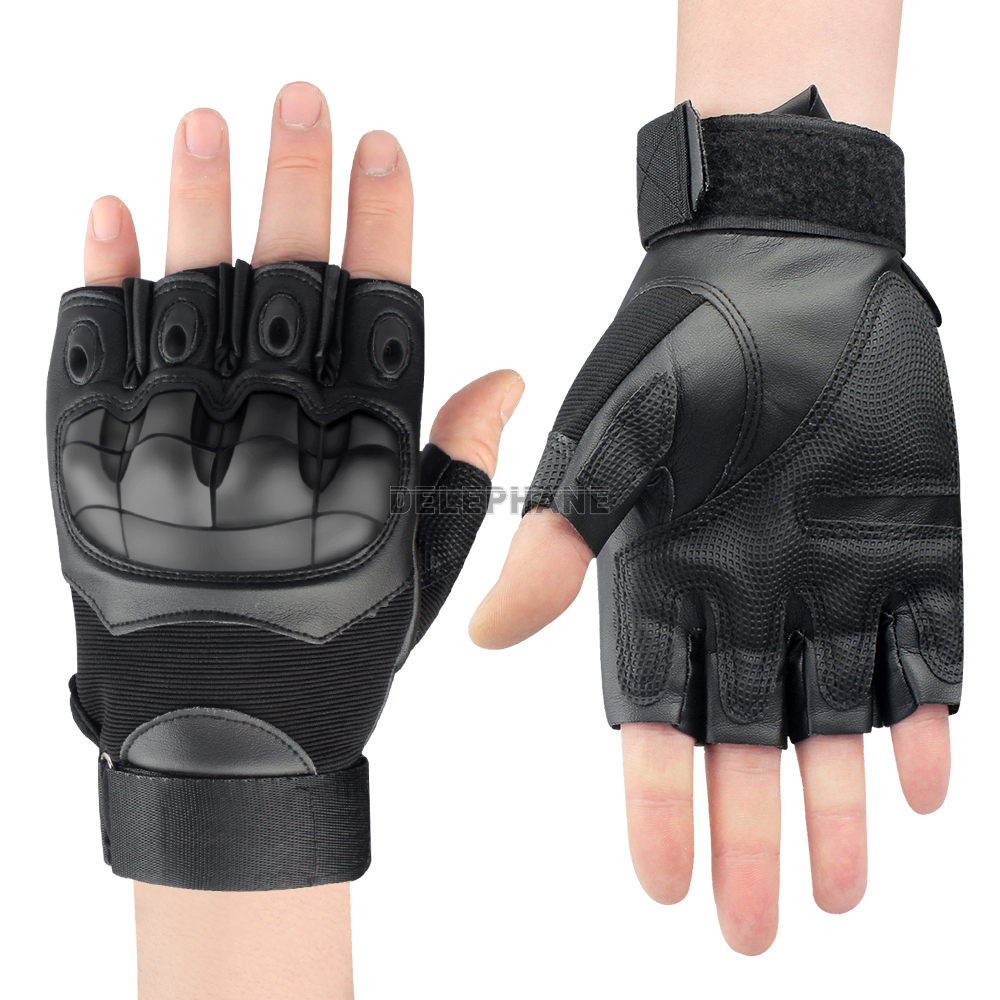 Hard Knuckle Leather Tactical Gloves