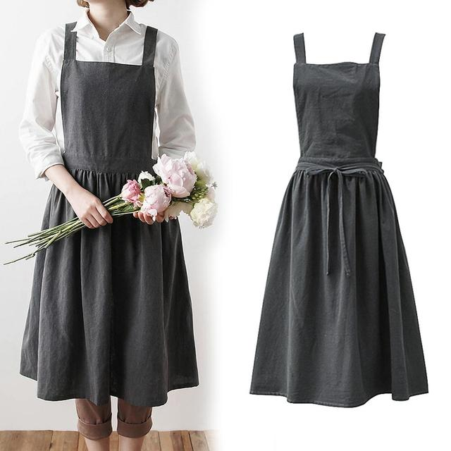 Nordic Simple Florist Apron Cotton Linen Gardening Coffee Shops Kitchen Aprons For Cooking Baking Overalls Apron Accessories 6