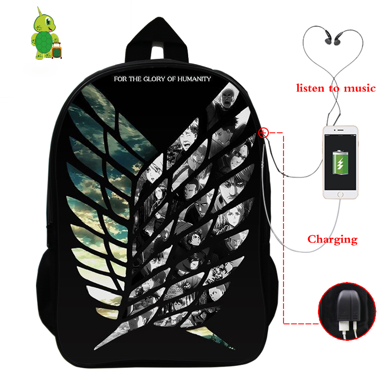 Anime Attack On Titan Backpack USB Charge Laptop Backpack School Bags For Teenage Boy Girl Women's Backpack Travel Shoulder Bags