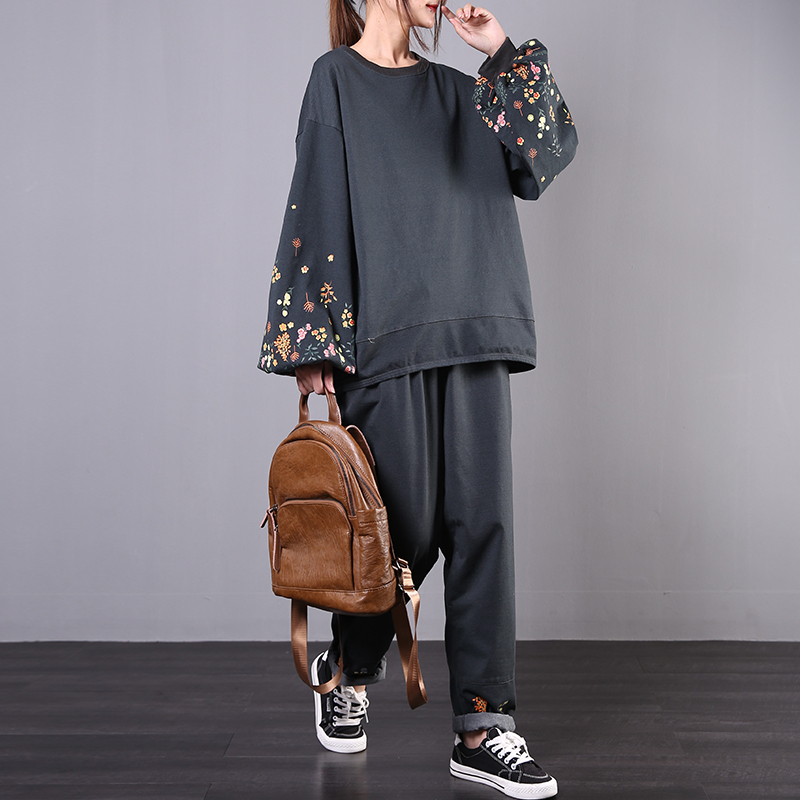 2020 Female New Spring Korean Style  Plus Size Literary Retro Lantern Sleeves Casual Fashion Floral Loose Suit
