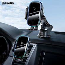 Baseus Car Phone Holder Charger For iPhone 11 Pro Max Samsung Fast Wireless Charging Intelligent 15W Qi