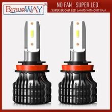 BraveWay LED araba ışık H4 H7 H8 H11 9005 9006 H1 BH3 BH4 far 12000LM 6500K 80W 12V LED ampul otomatik Led far arabalar için