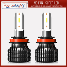 BraveWay luz LED para faro delantero de coche, bombilla LED de 12000LM, 9005 K, 80W, 12V, H4, H7, H8, H11, 9006, 6500, H1, BH3, BH4
