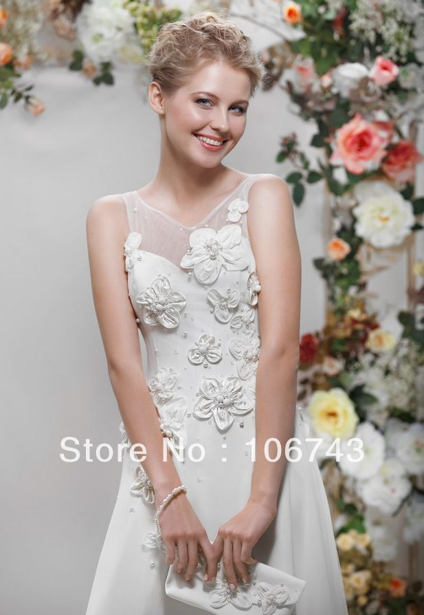 2018 New Brides Cheap Custom Flowers Pearls A-line Hot Sexy See Through Back Vestido De Noiva Bridal Gown Bridesmaid Dresses