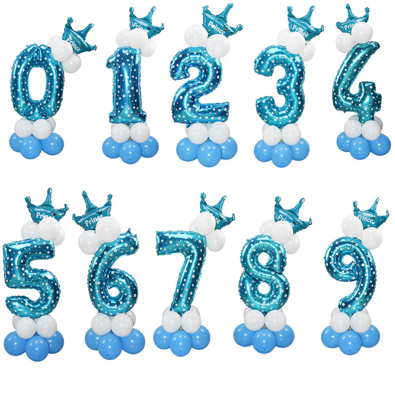 Image 4 - 1Set 32Inch Number Foil Balloon Crown Figure 0 9 Birthday Wedding Engagement Kids Birthday Party Decoration Globos Ball Supplies-in Ballons & Accessories from Home & Garden