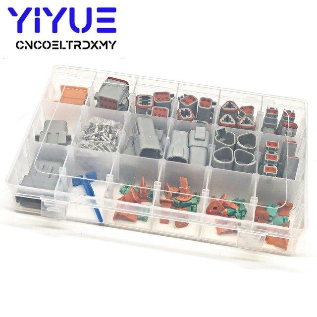 225pcs Deutsch DT automotive connectors kit DT06/DT04 2/3/4/6/8/12 Pin + 16 18AWG Crimp Terminals + removal tool 0411 336 1605
