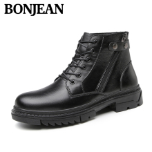 Brand High Top Quality Men Boots Winter Luxury Full Genuine Leather Work Shoes Woollen Warm Snow Zipper Size 47
