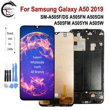 Amoled Lcd Voor Samsung Galaxy A50 2019 A505 Lcd Scherm Digitizer Vergadering Touch SM A505F/Ds A505FN A505GN A505FM a505YN
