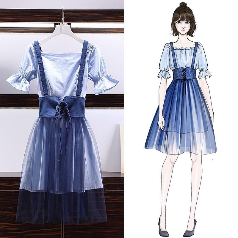 2019 Summer New Style Large Size Dress Fat Mm Bell Sleeve Shirt Dress Gauze Joint Denim Braces Skirt Two-Piece Set