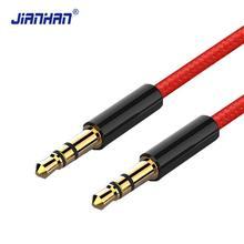 Jack 3.5mm AUX Cable Audio Cable 3.5 mm Jacks Cables 3 poles Nylon Braided Headphones Car MP3 AUX Cord Extension male to male 3 5mm male to male aux audio stretch cable white 5pcs 75cm