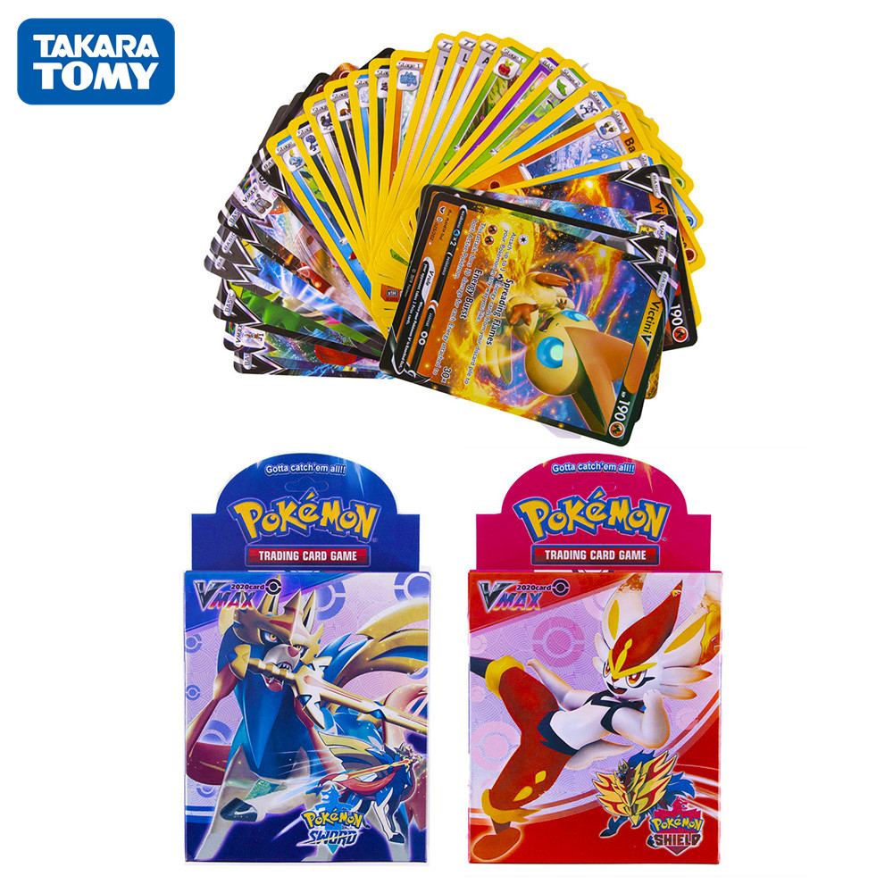 50pcs Pokemon Card Sword & Shield New Edition Vmax And V Cards Collectible Trading Card Game
