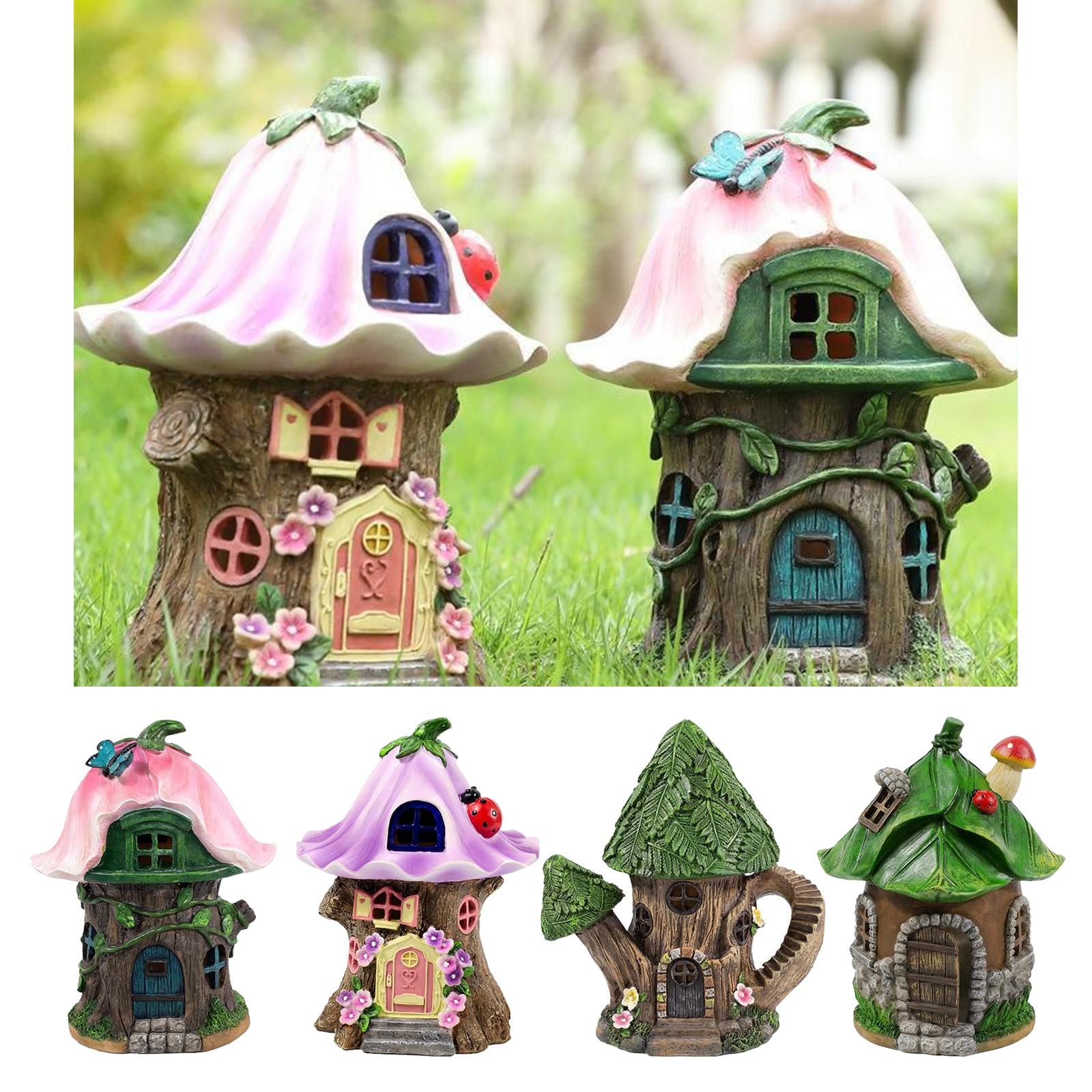 Craft Miniature Fairy House Solar Powered Outdoor Decor LED Garden Light Outdoor Decoration Led Light Yard Walkway