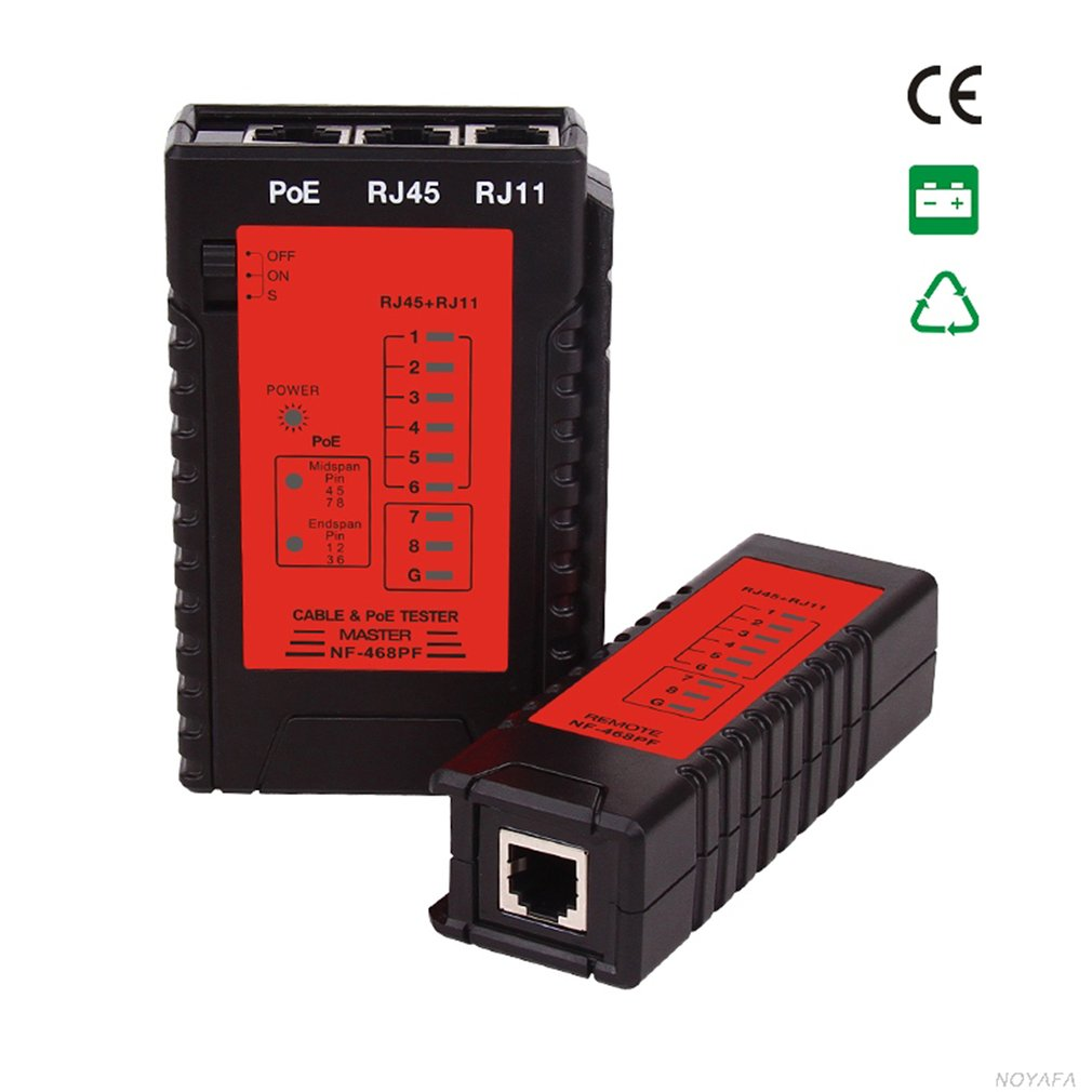 NF-468PF Cable Continuity Tester POE Tester Check RJ11 & RJ45 Cable Quick Detector Automatic Tester For Continuity