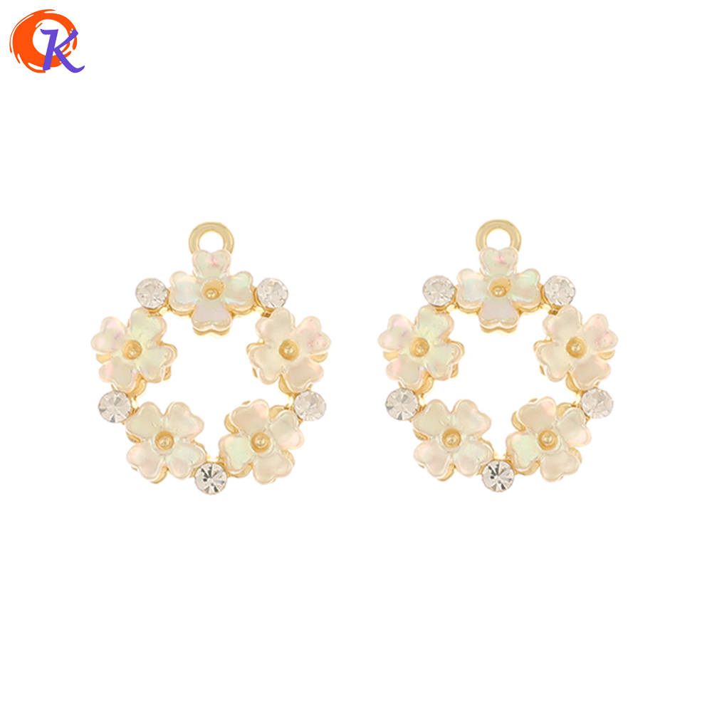 Cordial Design 50Pcs 18*21MM Jewelry Accessories/DIY Connectors/Earring Findings/Flower Shape/Hand Made/Rhinestone Charms