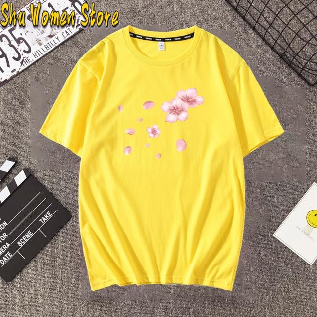 2020 Fashion Pink Cherry Blossom T-Shirt Summer cute Women t-shirt maiden super lovely flowers art print girl Tops ladies casual