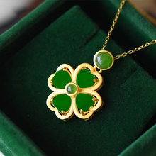 New 2021 Natural Hetian Jade Clover Pendant Necklace S925 Fashion Jewelry Chalcedony Amulet Gifts for Women dropshipping