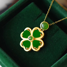 Clover Pendant Necklace Amulet Chalcedony Gifts Jade Fashion Jewelry Natural-Hetian Women