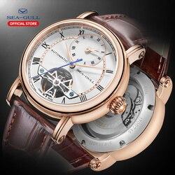 SEA-GULL деловые часы Мужские механические наручные часы календарь недели 50 м Водонепроницаемые кожаные мужские часы Valentine 819.11.6041