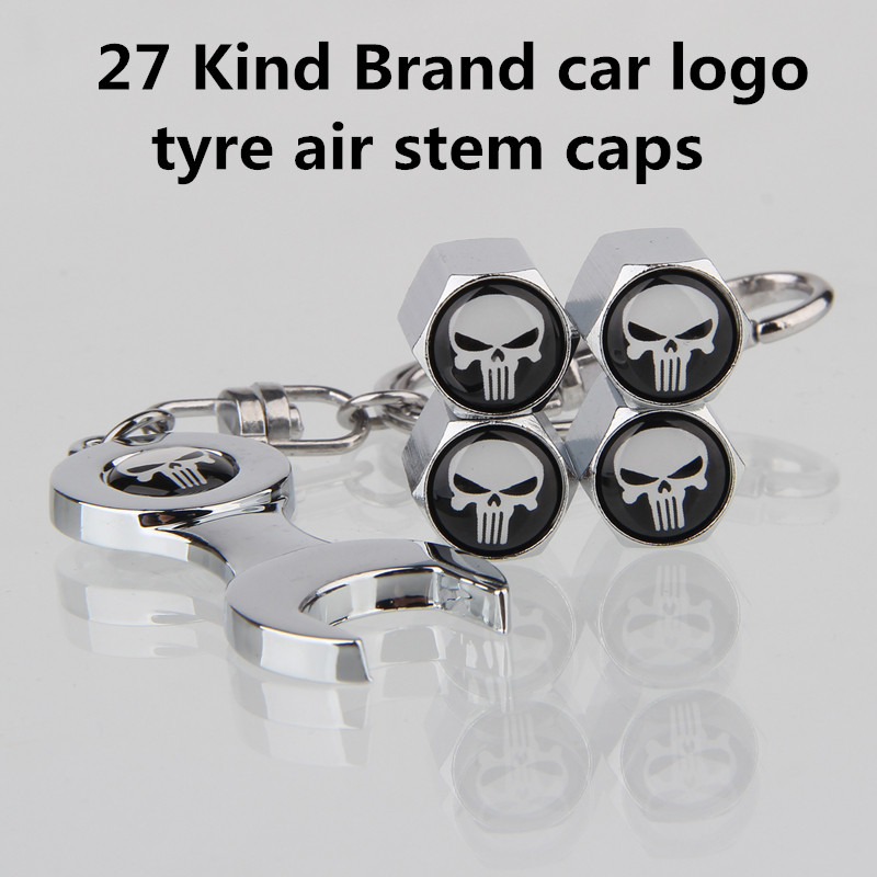 5Pcs/lot Metal Keyring+Wheel Tire Valve Caps Stem Case For Lada Twingo Smart Mopar Alfa Romeo Punisher SAAB SUBARU SEAT Car