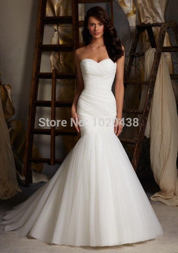 Elegant White Mermaid Wedding Dresses Strapless Organza Pleated Sweep Train Bridal Gown Dress Vestido De Noiva Custom Made
