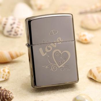 Genuine Zippo oil lighter copper windproof Black ice LOVE mirror cigarette Kerosene lighters Gift With anti-counterfeiting code