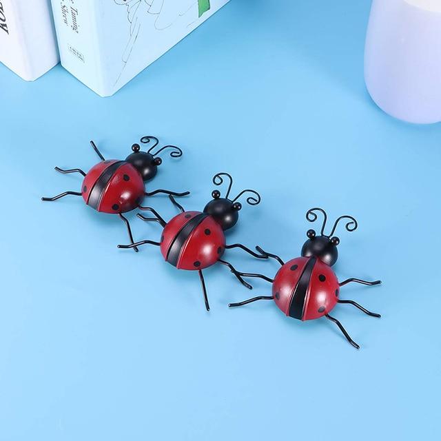 3pcs Outdoor Garden Iron Home Sturdy Craft Hanging Ornament Ladybug Shape Decoration Anti Fade Wall Art Weatherproof Traceless 4